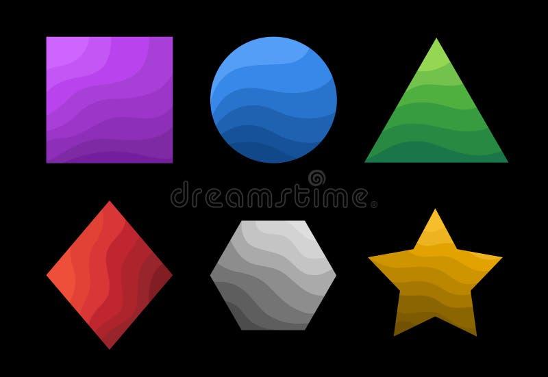 Colección geométrica colorida de los primitivos con la superficie ondulada ilustración del vector