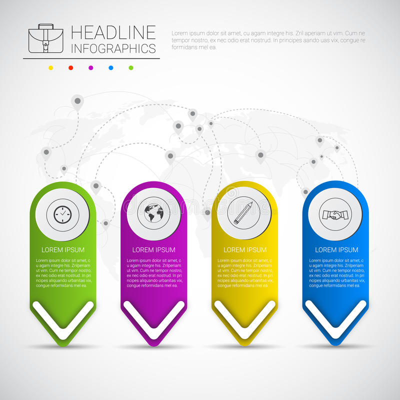 Colección gráfica de los datos de negocio del diseño de Infographic del título sobre espacio de la copia de presentación del mapa stock de ilustración