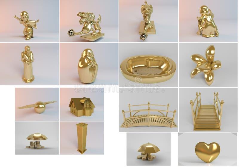 Colección grande 3d de objetos de oro fotos de archivo libres de regalías