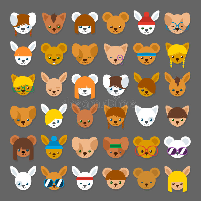Colección grande de avatares principales animales de la historieta stock de ilustración