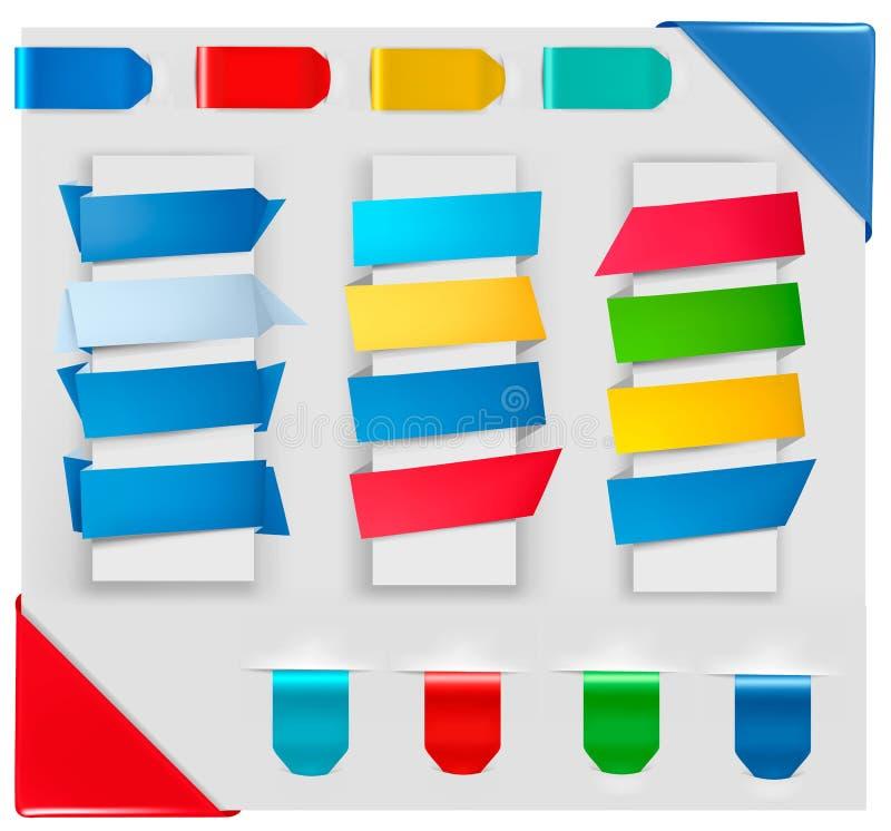 Colección grande de banderas coloridas del papel del origami ilustración del vector