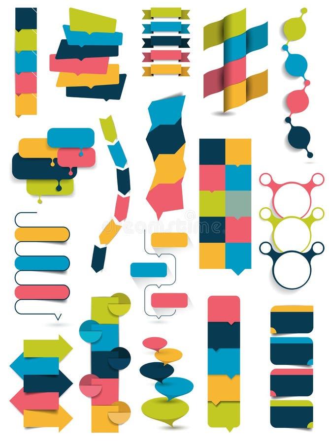 Colección grande de banderas de la columna, numerada plantillas libre illustration