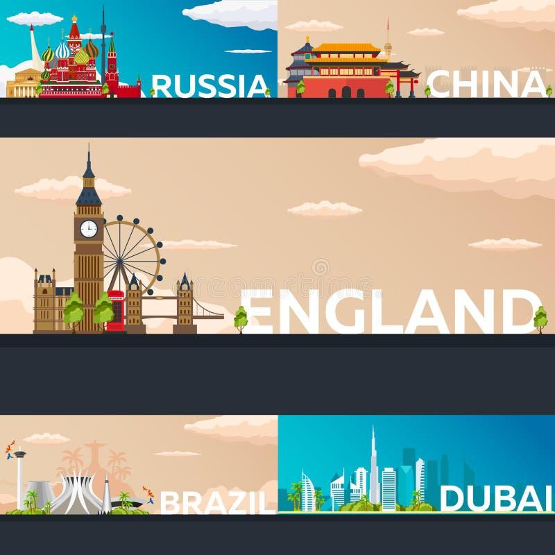 Colección grande de banderas del viaje al país Ejemplo plano de Vecor ilustración del vector