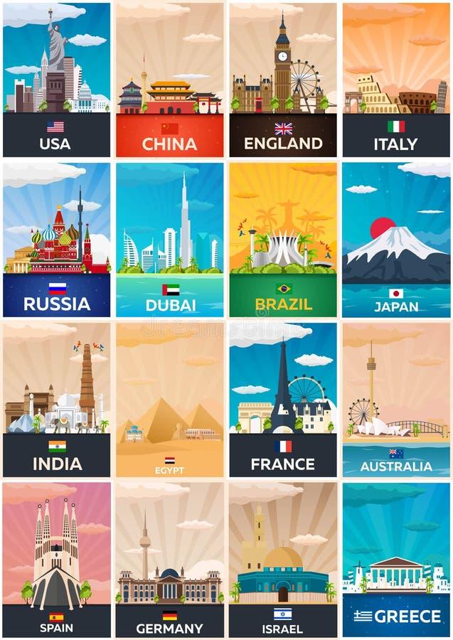 Colección grande de carteles del viaje al país Ejemplo plano de Vecor stock de ilustración