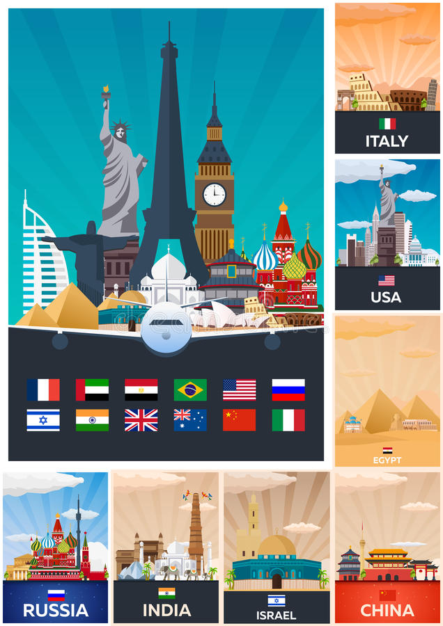 Colección grande de carteles del viaje al país Ejemplo plano de Vecor ilustración del vector