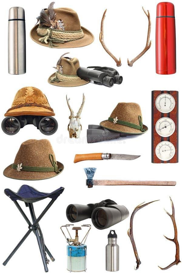 Colección de caza y de equipo al aire libre foto de archivo libre de regalías