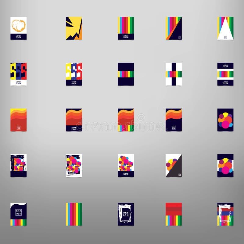 Colección grande de diseño del vector del folleto de 25 negocios, presentación moderna de la plantilla de la disposición ilustración del vector