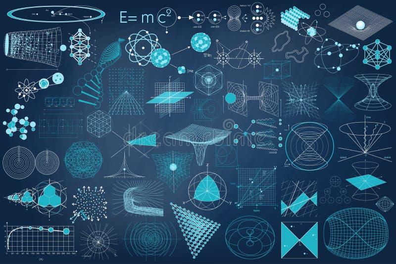 Colección grande de elementos, de símbolos y de esquemas de la física fotografía de archivo