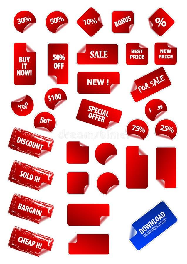 Colección grande de escrituras de la etiqueta de precio pegajoso del vector. ilustración del vector