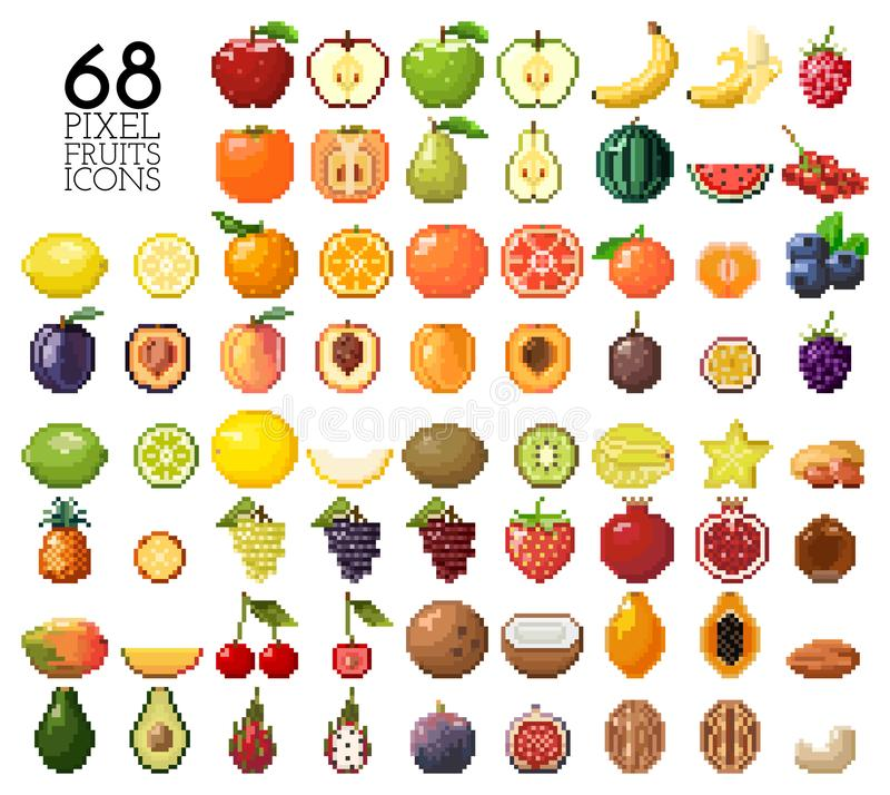 Colección grande de frutas, de bayas y de nueces del pixel ilustración del vector