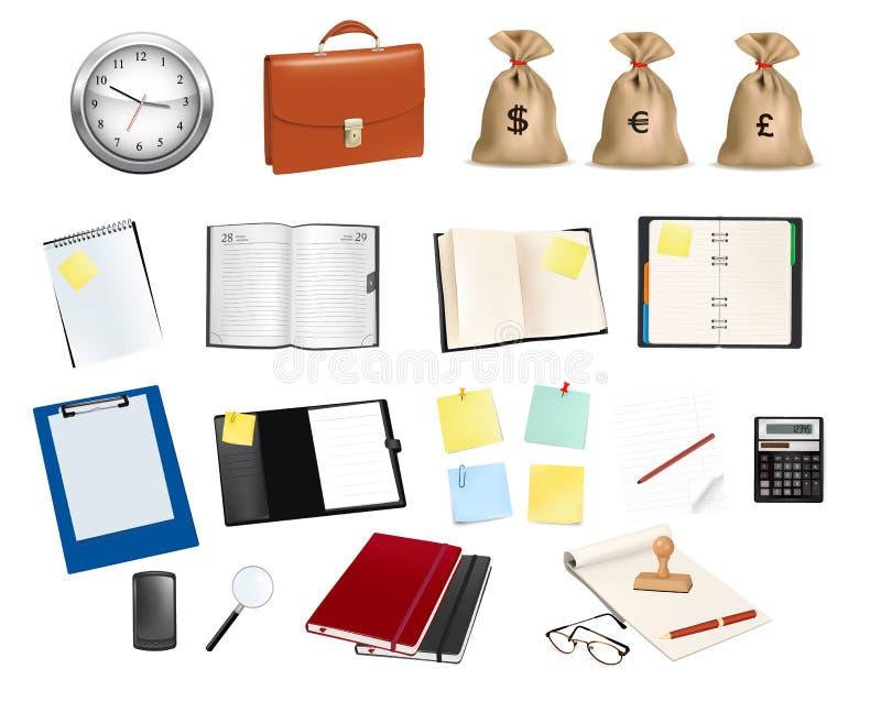 Colección grande de fuentes del asunto y de oficina. stock de ilustración