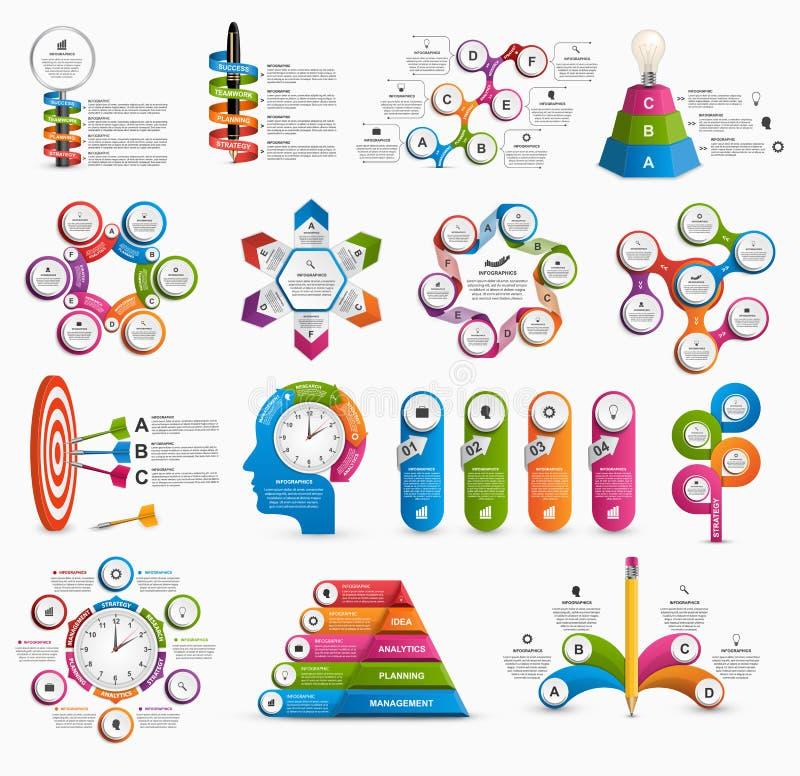 Colección grande de infographics colorido Elementos del diseño Infographics para la bandera de las presentaciones o de la informa stock de ilustración