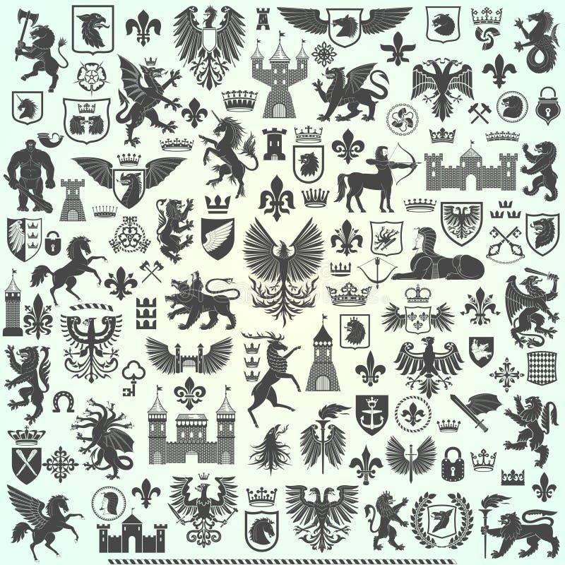 Colección grande de la heráldica ilustración del vector
