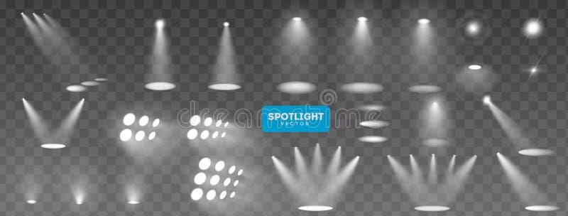 Colección grande de la iluminación de la escena, efectos transparentes Iluminación brillante con los proyectores Ilustración del  stock de ilustración