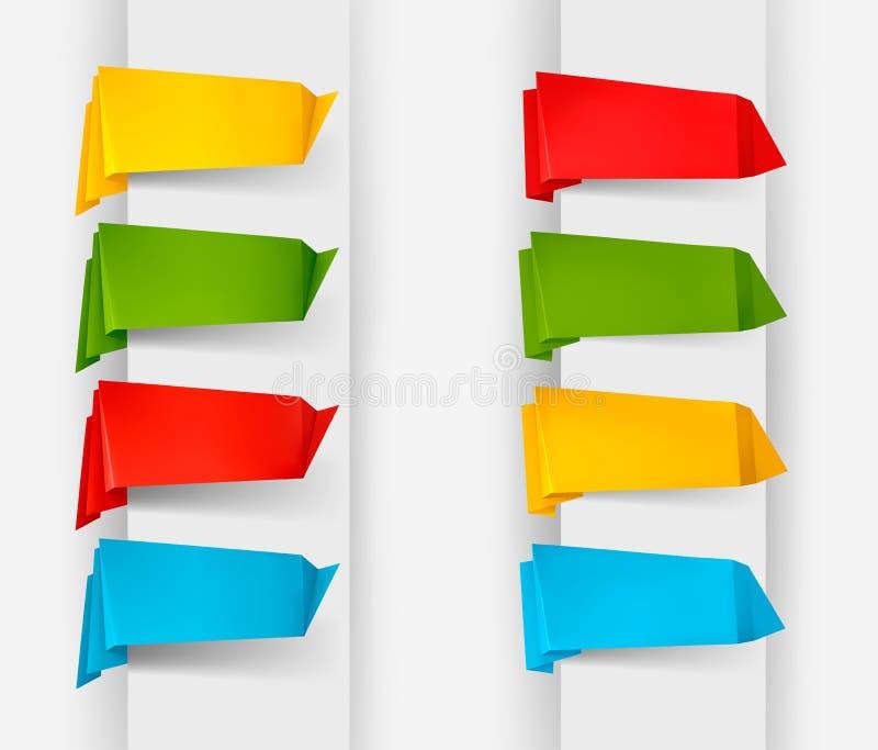 Colección grande de las banderas de papel a de la papiroflexia colorida ilustración del vector