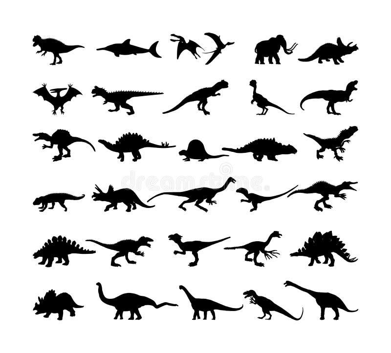 Colección grande de los dinosaurios Silueta del vector de T Rex aislada en blanco Símbolo de la sombra del tiranosaurio Era jurás ilustración del vector
