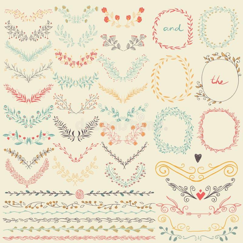 Colección grande de los elementos y de las líneas frontera florales dibujados mano del diseño gráfico en estilo retro stock de ilustración