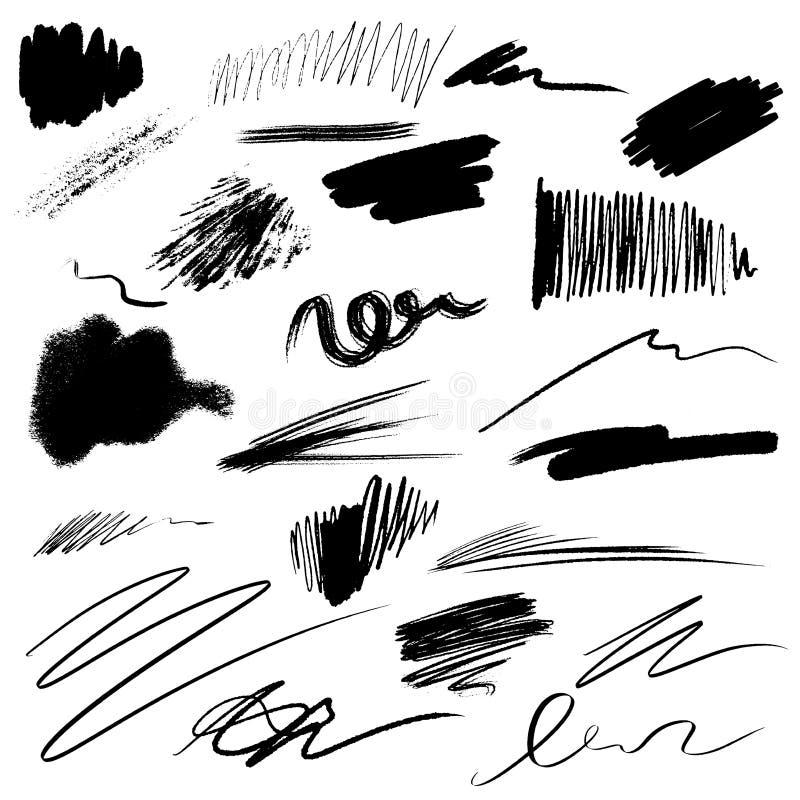 Colección grande de movimientos y de manchas negros del cepillo de la tinta Marcas de la salpicadura del grunge del vector aislad stock de ilustración