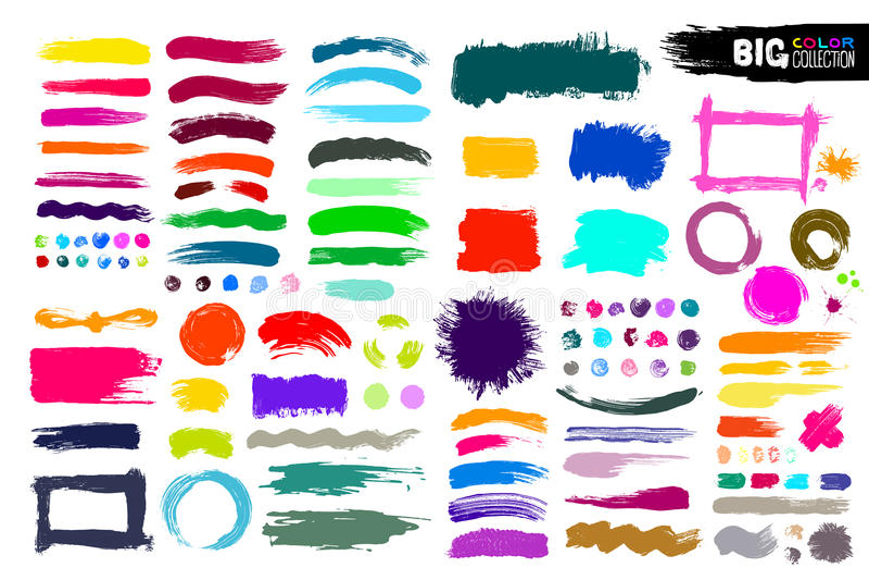 Colección grande de pintura del color, movimientos del cepillo de la tinta, cepillos, líneas Elementos artísticos sucios del dise ilustración del vector