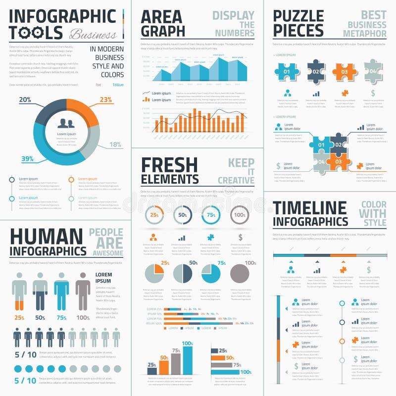 Colección grande de plantillas infographic del vector libre illustration