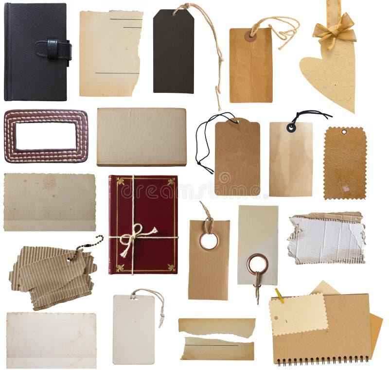 Colección grande de precios, de etiquetas y de notas en blanco foto de archivo