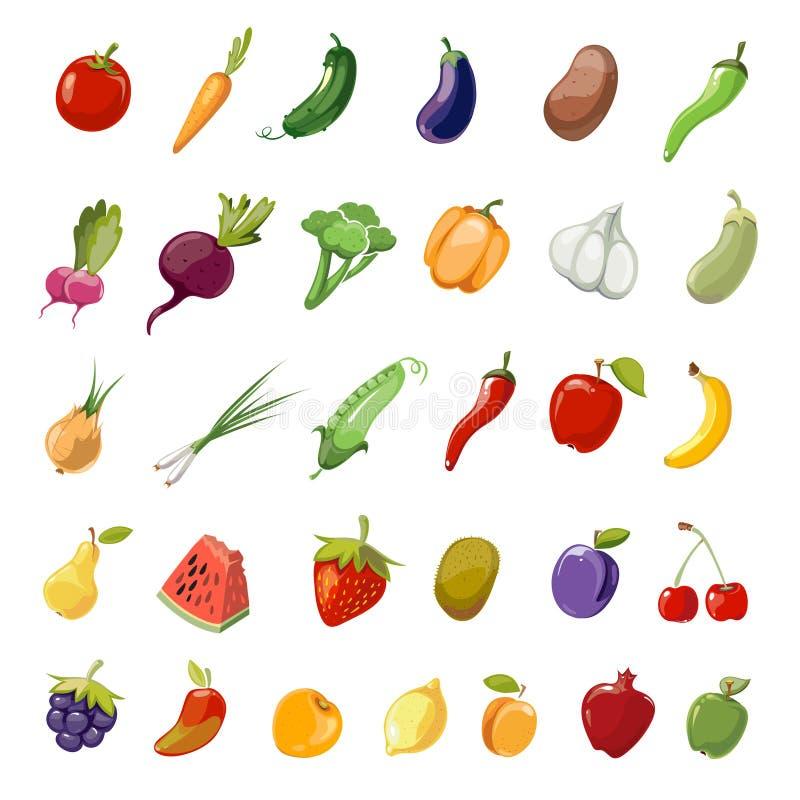 Colección grande sana orgánica de los iconos del vector de la fruta y verdura de la historieta ilustración del vector