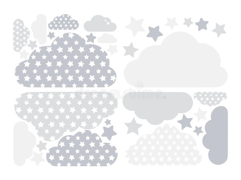 Colección gris en colores pastel del vector de las nubes y de las estrellas con las estrellas para los niños Paquete computaciona libre illustration