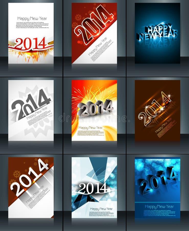 Colección hermosa del Año Nuevo 2014 del folleto de la plantilla libre illustration