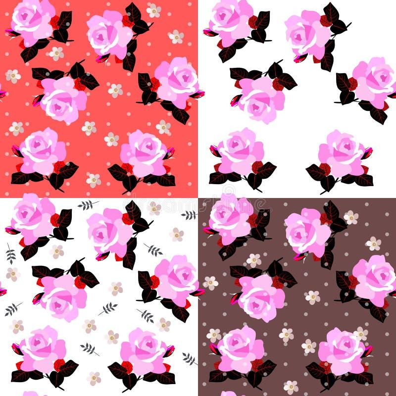 Colección hermosa del estampado de flores ditsy inconsútil cuatro con las rosas rosadas en diversos fondos libre illustration