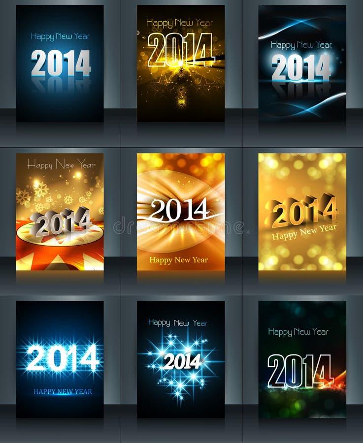Colección hermosa 2014 del folleto de la plantilla del Año Nuevo stock de ilustración