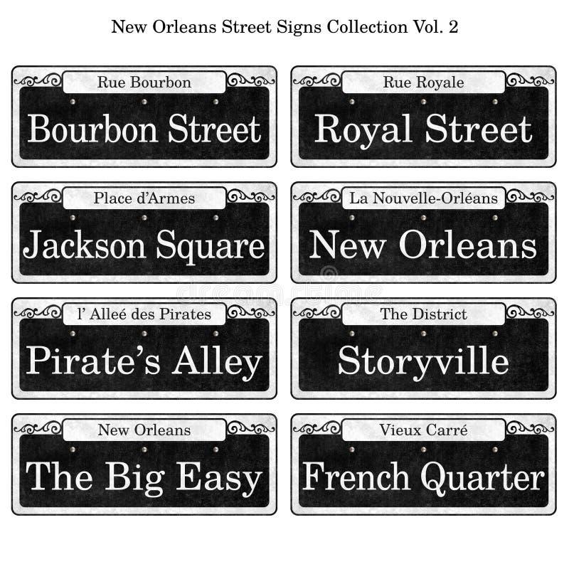 Colección histórica de las placas de calle de New Orleans ilustración del vector