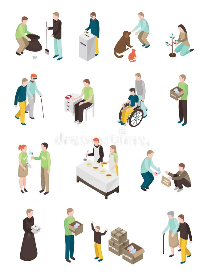 Colección humanitaria de los caracteres de la caridad stock de ilustración