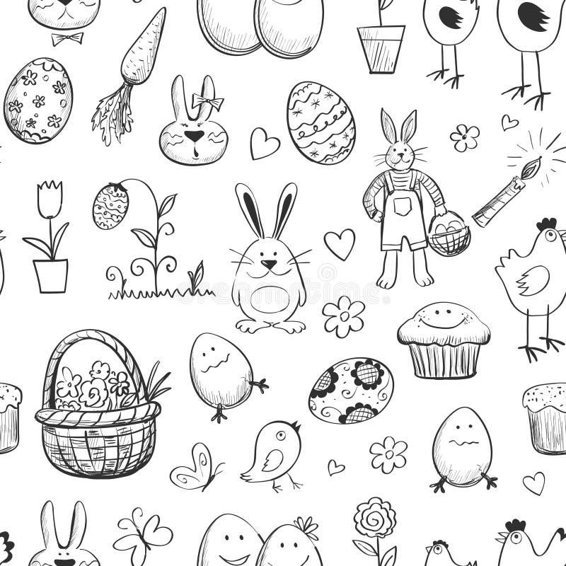 Colección inconsútil de Pascua del modelo Mano drenada ilustración del vector