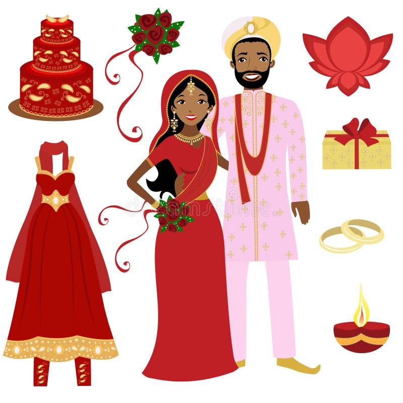 Colección india de la boda stock de ilustración