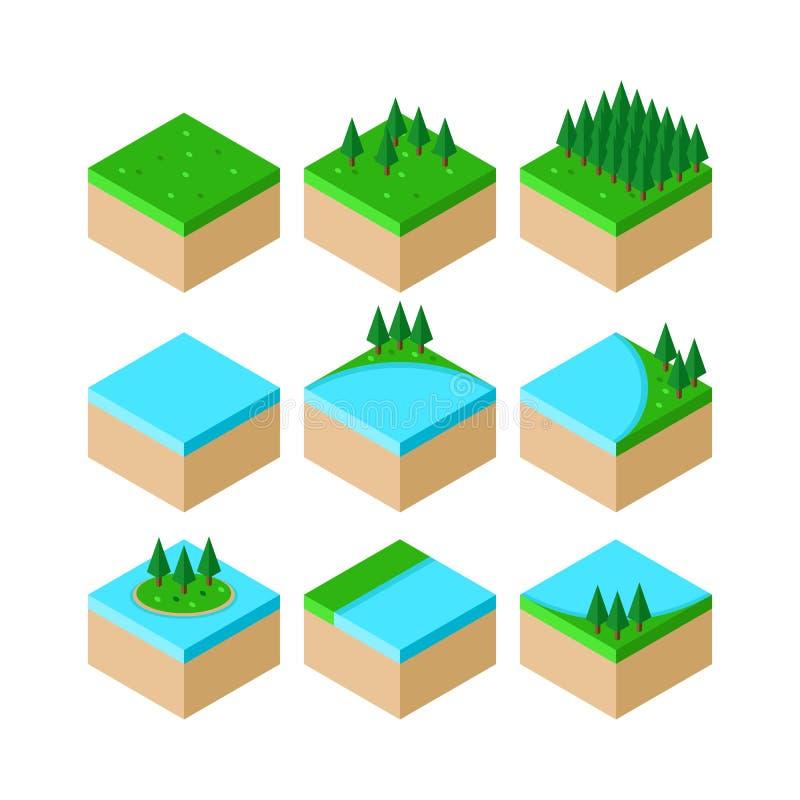 Colección isométrica de los elementos del paisaje del bosque stock de ilustración