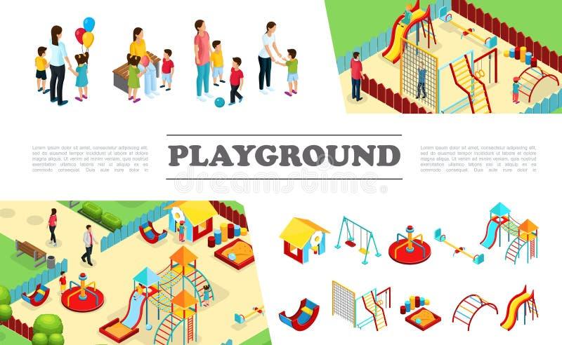 Colección isométrica de los elementos del patio de los niños ilustración del vector