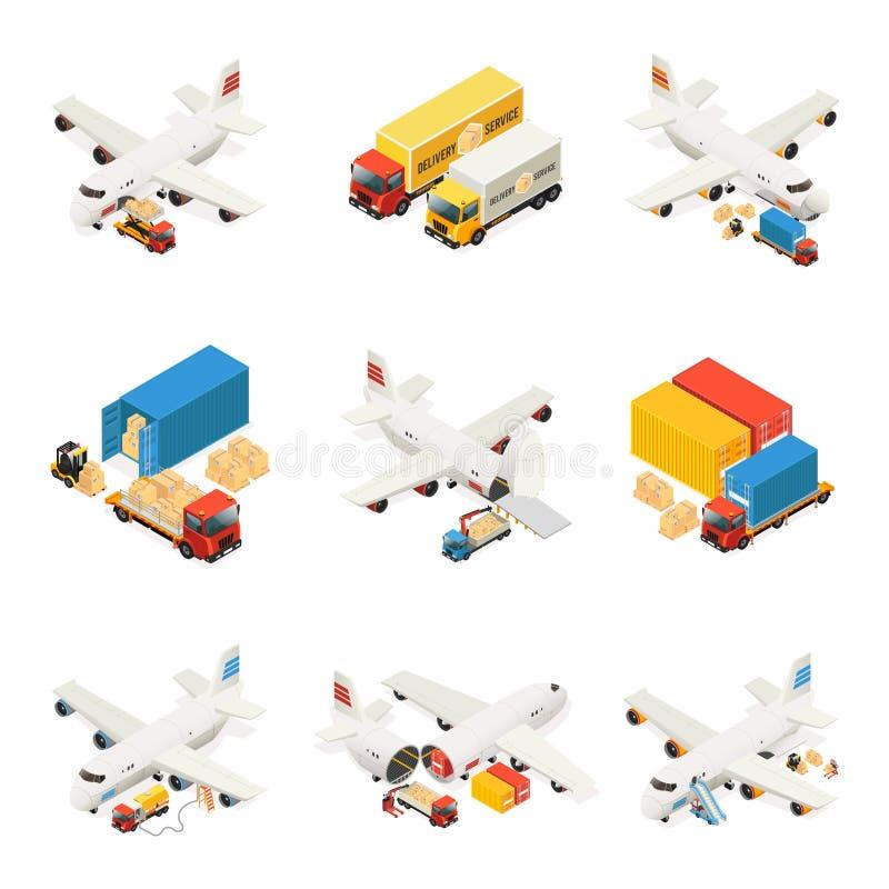 Colección isométrica de los elementos de la logística de aire stock de ilustración