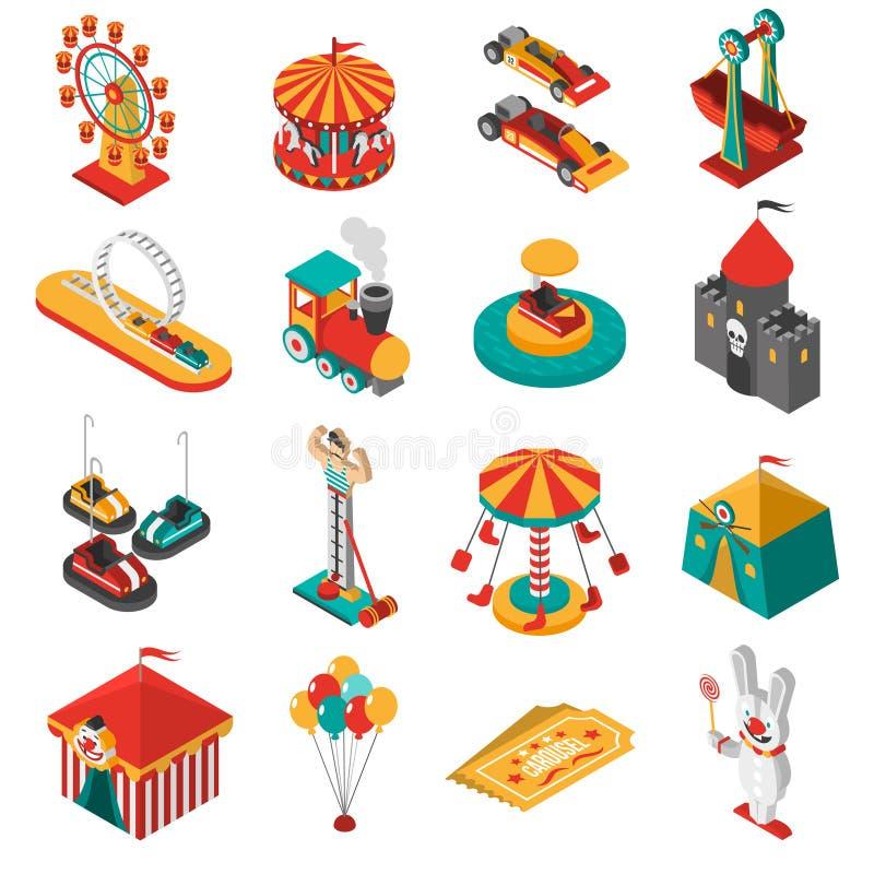 Colección isométrica de los iconos del parque de atracciones ilustración del vector