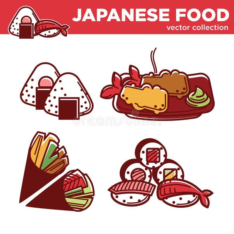 Colección japonesa del vector de la comida de platos exóticos sabrosos stock de ilustración