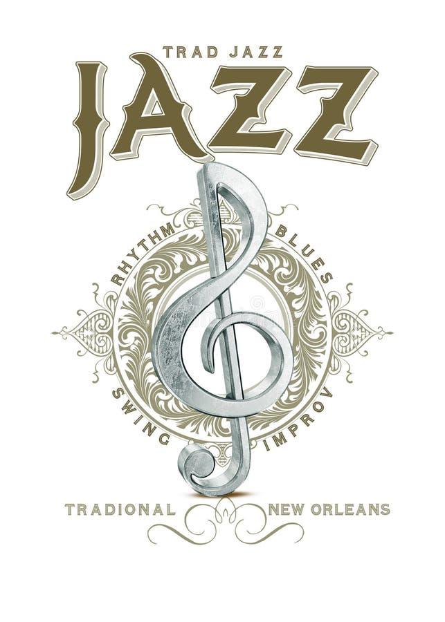 Colección Jazz Musical Note tradicional de la cultura de New Orleans stock de ilustración