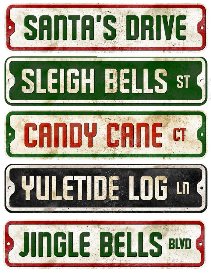 Colección Jingle Bells de las placas de calle del tema del día de fiesta de la Navidad fotos de archivo libres de regalías