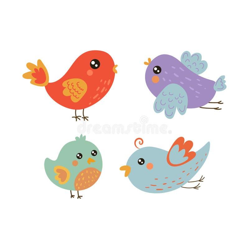 Colección linda de cuatro polluelos del pájaro ilustración del vector