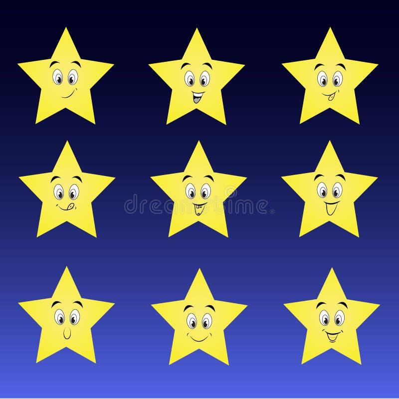 Colección linda de estrellas con smiley felices ilustración del vector