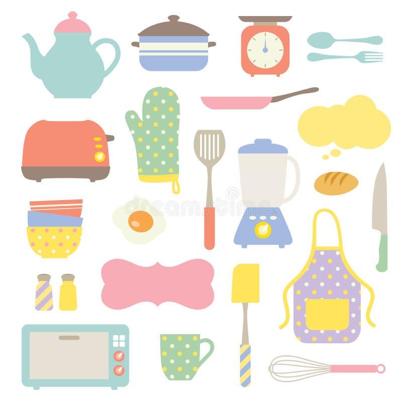 Colección linda de la cocina stock de ilustración