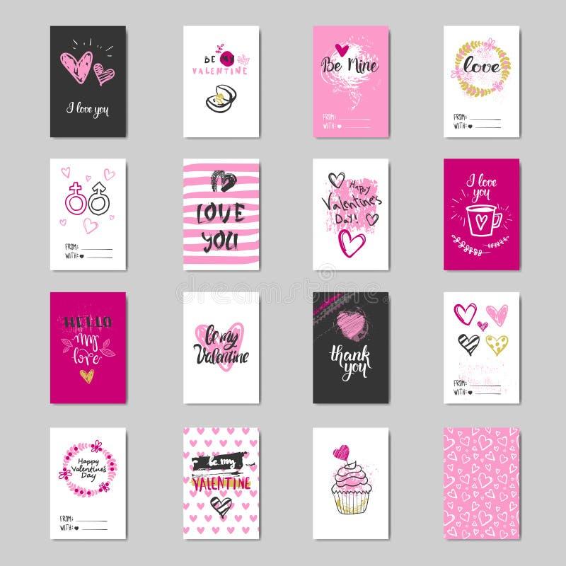 Colección linda de la postal del amor del bosquejo del diseño de Valentine Day Greeting Cards Set ilustración del vector