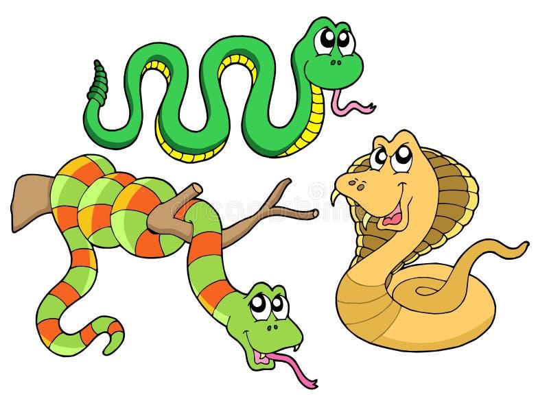 Colección linda de las serpientes ilustración del vector