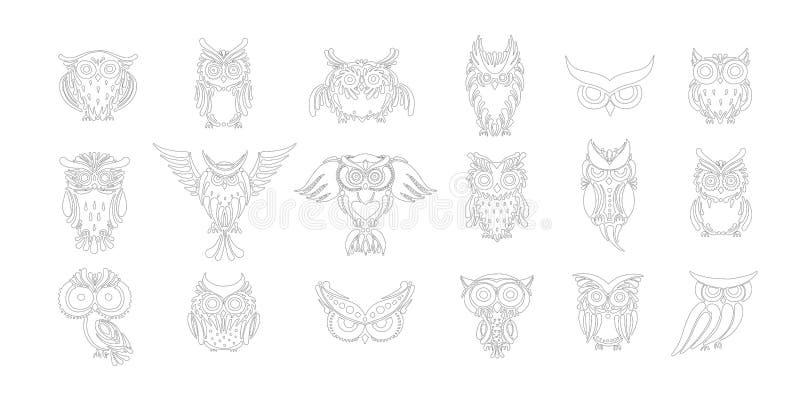 Colección linda de los búhos, página que colorea para su diseño libre illustration
