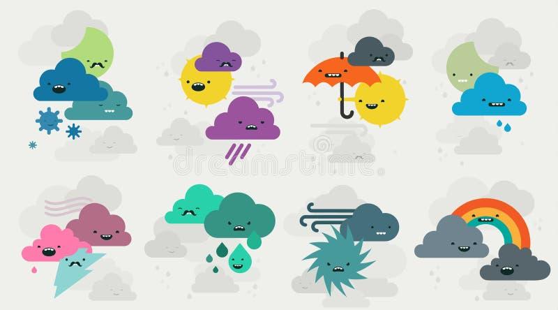 Colección linda de los caracteres de los emojis del tiempo ilustración del vector
