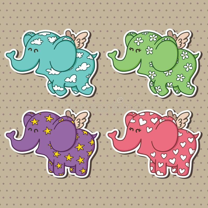 Colección linda de los elefantes del vuelo del garabato libre illustration