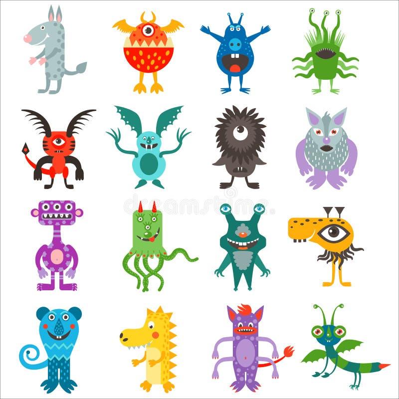 Colección linda de los extranjeros de los monstruos del color de la historieta stock de ilustración